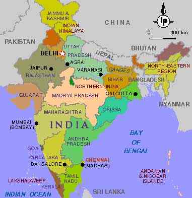 Map of india ; copyright India Tourism